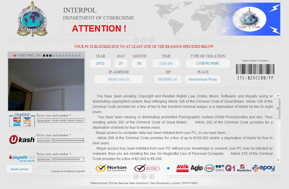 Scam - Computer Wet-coast Virus Interpol